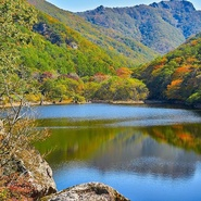 "Chuvansan National Park; the shooting site of ""Spring, summer, autumn, winter and spring again"" - the Chusanchzhi artificial lake"